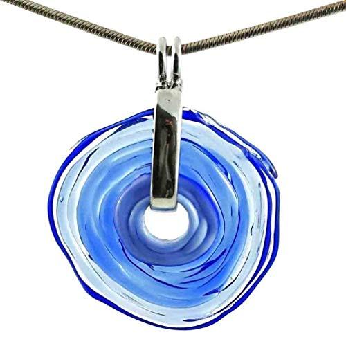Hochwertige Kette mit Schmuckanhänger aus Murano-Glas in blauer Farbe | Glas-Wechsel-Schmuck | Unikat handmade | Personalisiertes Geschenk für Sie zum Hochzeitstag Jahrestag Geburtstag Mama Dame