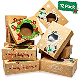 Christmas Cookie Boxes - Bulk 12 Pack Kraft - Large Holiday Christmas Food, Bakery Treat Boxes with...