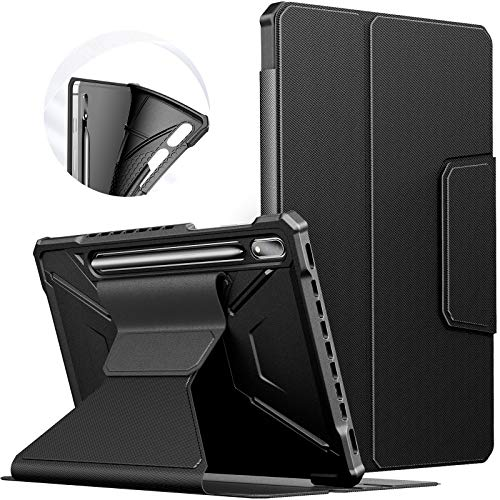 INFILAND Custodia per Samsung Galaxy Tab S7 11 2021 Versione (T870/T875), Supporto Frontale TPU Custodia Cover con Auto Svegliati/Sonno Funzione,Nero