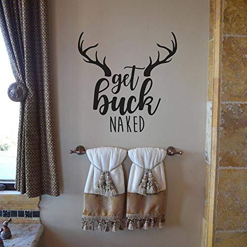JXFM Holen Sie Sich Nude Badezimmer Wandmontierte Glasabziehbilder Badezimmer Dusche Holen Sie Sich Nude Deer Zitat Wandaufkleber Toilette Vinyl Home Decor45x45cm