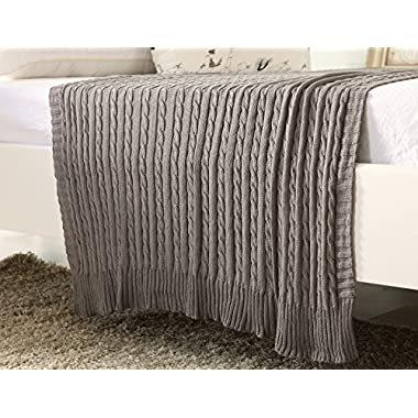 100% All Cotton Knit Throw for Sofa Classic Cable Pattern, 43x70 Inches, Lightweight Ideal for All Year Round Use, Grey