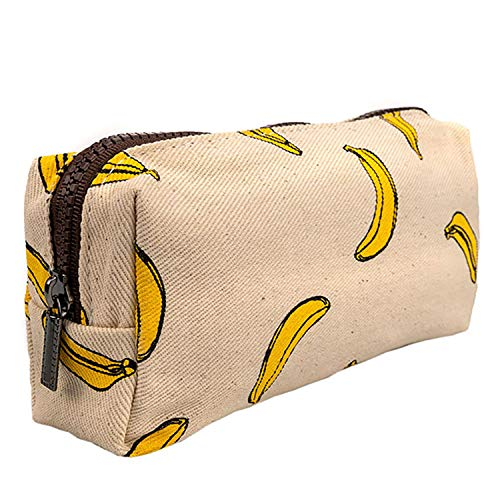 Lparkin estuche de lona para lapiceros, sirve también como bolsa para maquillaje con una super capacidad, para estudiantes, color Bananas