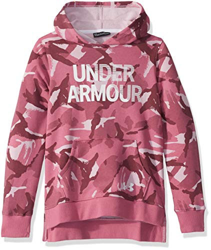 Under Armour Rival Fleece Wordmark Hoodie, Pace Pink (669)/White, Youth X-Large