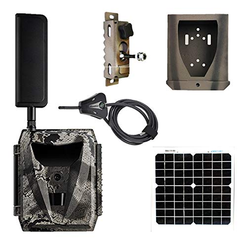 Spartan Ghost Verizon 4G LTE GC-W4Gb Blackout IR Infrared Hunting Trail Camera Deluxe Package with 15inch 10W Solar Panel(camera, steel lock box, steel swivel mount, python cable, solar panel + cable)