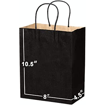 [100 Bags] 8 X 4.5 X 10.5 Kraft Paper Gift Bags Bulk with Handles. Ideal for Shopping, Packaging, Retail, Party, Craft, Gifts, Wedding, Recycled, Business, Goody and Merchandise Bag (Black)