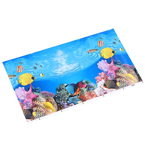 POPETPOP Aquarium Background Sticker Coral Fish Tank Background 3d Double-sided Wallpaper Static Window Decal For Home Decor Children Birthday Image Decor 52x30CM