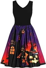 OverDose mujer Vintage Sin Mangas De Calabazas De Halloween Mejor Venta Fantasma Fiesta De Noche De Baile Vestido De Disfraces Swing