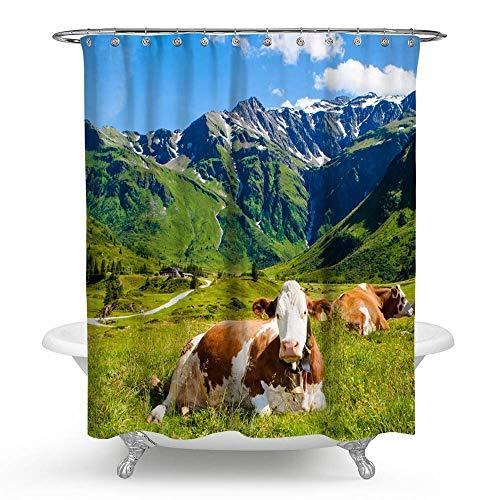 KISY süßer Kuh Stoff Duschvorhang Schnee Berg Grasland Badezimmer Deko beschwerter Duschvorhang für Badewanne Dusche Dusche 177,8 x 177,8 cm Bauernhof Tier