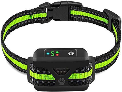 Dog Bark Collar -5 Adjustable Sensitivity and Intensity Levels-Dual Anti-Barking Modes Rechargeable/Rainproof/Reflective -No Shock Barking Control Dog Collar for Small Medium Large Dogs