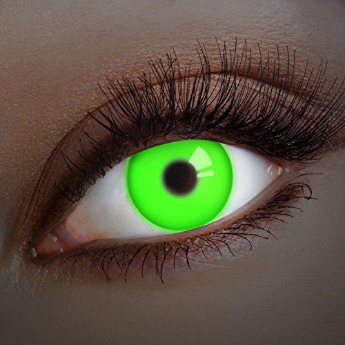 aricona Kontaktlinsen - Grüne UV Kontaktlinsen ohne Stärke - Farbige Kontaktlinsen mit UV Spezialeffekt für Karneval, Fasching, Cosplay und Motto-Partys, 2 Stück