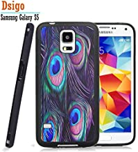 Galaxy S5 Case, Samsung S5 Black Case, Dsigo TPU Black Full Cover Protective Case for New Samsung Galaxy S5 - Beautiful peacock feather