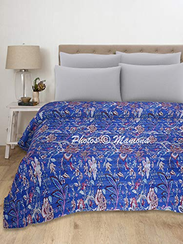 Maniona Manta Kantha de algodón Kantha hecha a mano con costura india azul