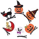 Tomaibaby Halloween Pince à Cheveux 6 Pcs Citrouille Fantôme Chauve-Souris Chat Chapeau Pinces à Cheveux Halloween Habiller Accessoires pour Filles Femme Coiffure