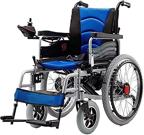 Sedia a rotelle elettrica pieghevole Leggero Sedia a rotelle robusto robusto Dual-Motor Multi-Terrain Sicurezza Sedia a rotelle Mobility Motory per anziani e disabili,Blu