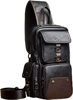 SPAHER Bolsos de Hombro de Pecho Cuero Crossbody Bolso de Hombro Bolsos de Mochila Messenger Bag Daypack para el Negocio C...