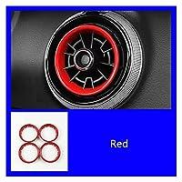 XUELINGTANG Audi A3 8V 2013-2019カーボンファイバーカラーインテリアエアベントサークルセンターコンソールエアコンアウトレットフレームカバートリム (Color Name : Red)