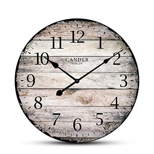 Cander Berlin MNU 7330 - Reloj de pared (tablero de fibra de densidad media, mecanismo silencioso, 30,5 cm de diámetro), diseño vintage