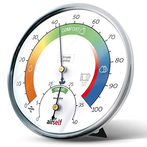 Termohigrómetro analógico - Termómetro de Interiores y medidor de Humedad - con Zonas de Confort para controlar ambientes