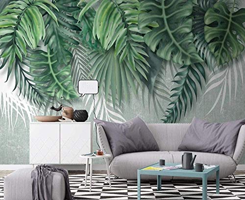 Mural Wallpaper Photo Poster Wall DecorationHand Drawn Tropical Green Plant leavesBackground Wall Background Painting Panorama 3D Wall Mural Decor 280 * 400cm
