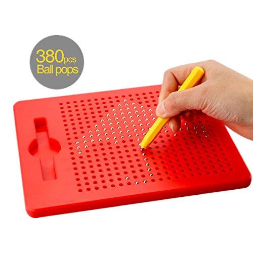Yooap pour Enfants Planche à Dessin Magnétique de Dessin, Effaçable Pad de Dessin Magnétique de Boule en Acier pour Les Enfants (Rouge)