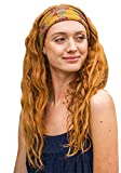 """Natural Life Half Boho Bandeau Headband - Versatile, Wide, Hairband That Stays In Place, 7 Ways To Wear, The Perfect Casual Accessory - 9"""" L x 10"""" W - Gold Plum Blooms"""