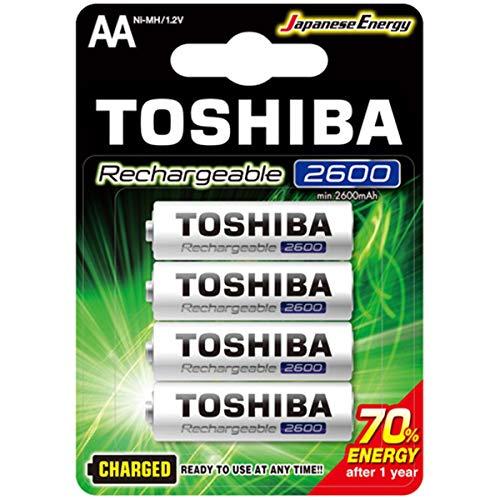 Pilha Recarregável AA 1,2V 2600mAh TNH6GAE TOSHIBA (Cartela com 4 unid.)