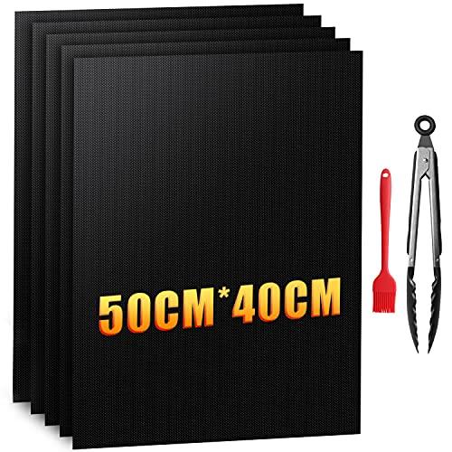 Zenoplige Grillmatte 50X40CM BBQ 7-Teiliges Set, PTFE-Glasfaserbeschichtung 100% Antihaft PFOA-Freie Wiederverwendbar Grillmatten gasgrill für bis 260°C/500℉