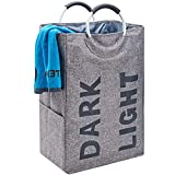 HOMEST Double Laundry Hamper with Handle, Self-Standing Modern Laundry...