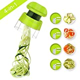 4 in 1 Spiralizer Hand Held Sedhoom Vegetable Spiralizer Handheld Upgrade Spiral Slicer