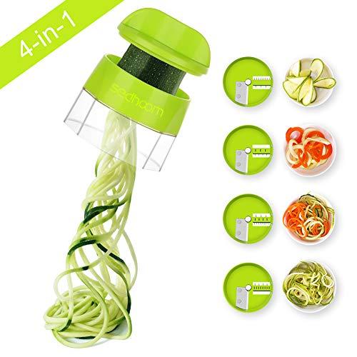 4 in 1 Spiralizer Hand Held Sedhoom Vegetable Spiralizer Handheld Upgrade Spiral Slicer Zucchini Noodle & Veggie Pasta & Spaghetti Maker for Low Carb/Paleo/Gluten-Free Meals