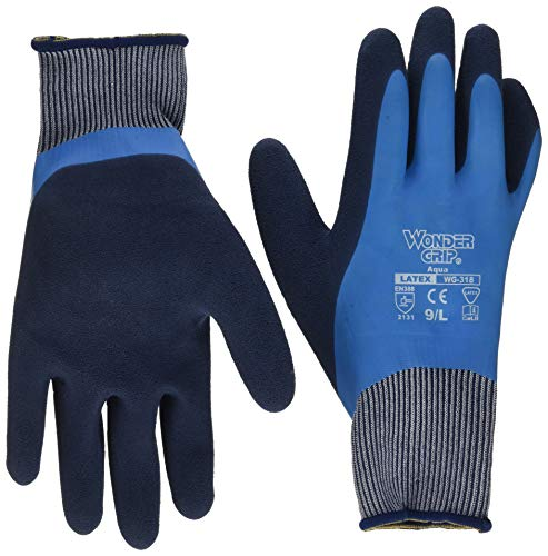 Wonder Grip WG-318 Aqua Wasserdichte Handschuhe, Blau/Schwarz, L/9