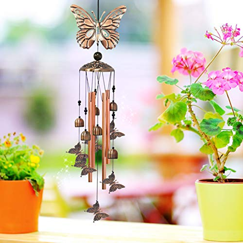 Greenke Butterfly Wind Chimes for Outside, Butterfly Gifts for Women, Memorial Bell Windchimes Deep Tone for Outdoor Garden Patio Porch Backyard Decor, Birthday Gardening Gifts for Mom Grandma Friends