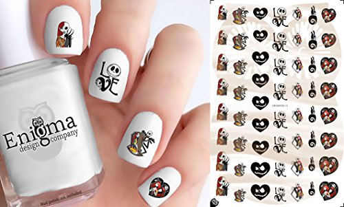 The Nightmare before Christmas Jack & Sally (Clear Water-Slide Nail Decals)