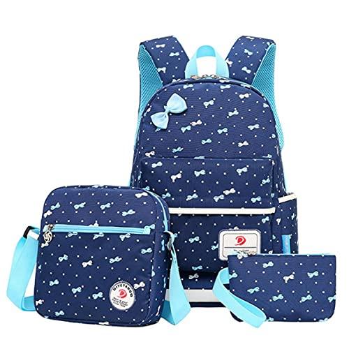 MINGPAI 3 unids / set Mochila ortopédica con estampado Bowknot de moda Mochila escolar para niñas Mochila dulce y bonita para estudiantes de primaria