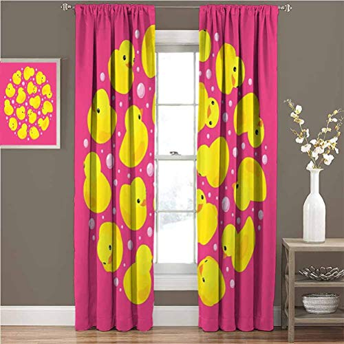 Great Price! Mademai Rubber Duck Sliding Curtain Fun Baby Duckies Circle Artsy Pattern Kids Bath To...