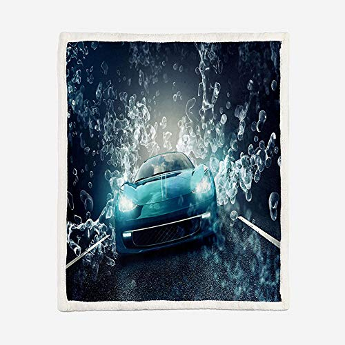 JNBGYAPS Sherpa Throw Blanket Blue sports car Super Soft Flannel Fleece Couch Blanket Printed blanket Microfiber Blanket Reversible Bed Blanket for All Season59.1x78.7 Inches
