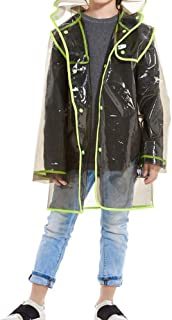 LUKEEXIN Children's Transparent Raincoat Boys and Girls Long Outdoor Hiking Raincoat Large Size Waterproof Poncho (Color : Clear, Size : XL)