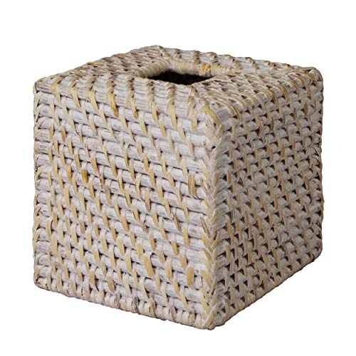 Made Terra Woven Rattan Tissue Box Cover Holder | Decorative Wicker Refillable Facial Napkin Dispenser Holder Paper Box Organizer (Square Whitewash)
