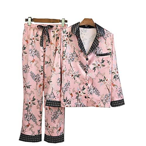 SZTB Pijama de Mujer Otoño e Invierno Simulación de Mujer Seda Satén Seda Blanco Grúa Impresión Servicio a Domicilio Traje,Pink,L