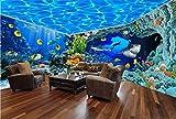Fotomurali 3D Parete Subacquea Del Fondo Della Casa Piena Dello Spazio Di Tema Dell'Acquario Del Mondo Carta Da Parati 3D Effetto Quadri Murali Gigante Murale Decorazione