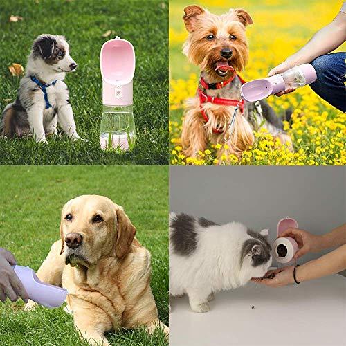 Botella de viaje de agua y aperitivos 2 en 1 + cepillo de dientes para mascotas de tres caras para perros y gatos
