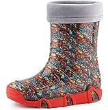 Ladeheid Botas de Agua Zapatos de Seguridad Calzado Unisex Niños Niñas Swk 201 (Criaturas Felices, 21/22 EU)