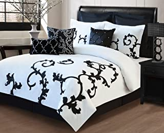 9 Piece Cal King Duchess Black and White Comforter Set