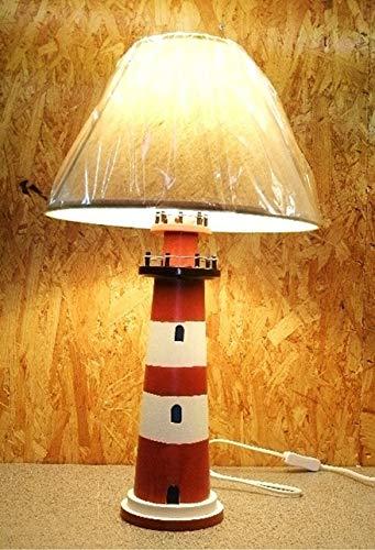 Tischleuchte Leuchtturm rot/weiß, 54 cm