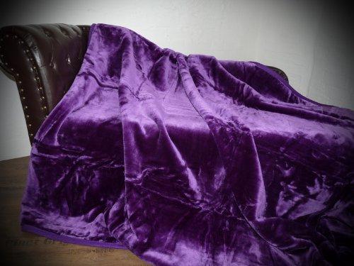 Natur-Fell-Shop Kuscheldecke Tagesdecke Decke Glanz-Design lila/violett 160x200cm