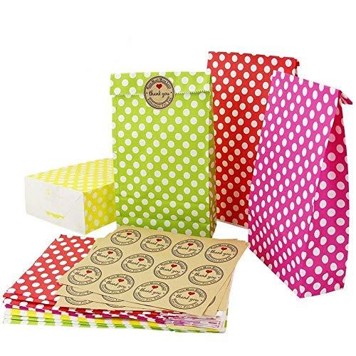 KBNIAN 24 Stück Bunt Geschenktüten Geschenk Papiertasche Geschenktaschen mit 36 Aufkleber Farbigen Punkt Papiertragetaschen für Ostern, Weihnachten, Hochzeit (grün, gelb, rot, rosa)