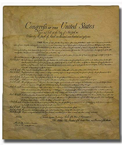 The Bill of Rights, Authentic Full Size Replica Printed on Antiqued Genuine Parchment. 23 X 29