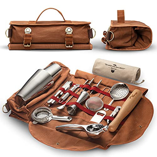 Travel Bartender Kit Bag   Professional 17-piece Bar Tool Set with Stylish Portable Bar Bag and Shoulder Strap for Easy Carry and Storage   Best Travel Bar Set for Home Cocktail Making, Work, Parties