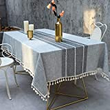 Deep Dream Tablecloth, Embroidered Table Cloth Cotton Linen Wrinkle Free Anti-Fading Tablecloths Washable Dust-Proof Table Cover for Kitchen Dinning Party, 55 x 70 Inch - New Gray