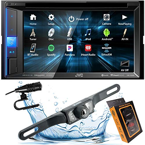 JVC XV95BK KW-V25BT (KWV25BT) Bluetooth CD/DVD/AM/FM/Digital Car Stereo Receiver w/ 6.2', Pandora, Spotify and iHeartRadio Control + HD Backup Camera + Gravity Magnet Phone Holder